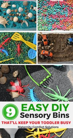 9 Easy DIY sensory bins that'll keep your toddler busy, toddler activities, sensory play Making sensory bins is the way to go if you want a fast and frugal sensory activity for your toddler. I'm a mom and former toddler and preschool teacher. Toddler Sensory Bins, Sensory Tubs, Toddler Play, Sensory Activities, Infant Activities, Sensory Play, Toddler Snacks, Activities For Kids, Childcare Activities