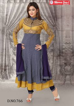 Navy Blue Colored Cotton High Collar Printed & Emb Work Anarkali Top and Navy Blue Colored Silk Cotton Chudi Pant with Same Colored Chiffon Dupatta. http://www.shreedevitextile.com/women/salwars/shreedevi-salwars/shree-devi/navy-blue-colored-cotton-salwar-766