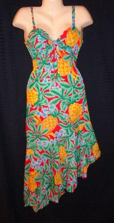 Vtg Retro '80 M/7~Mod Hawaiian Dress~Sunshine By Designer Sherry Holt~Pineapple