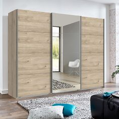 Crato Mirrored Sliding Wardrobe Large In Hickory Oak Effect With 3 Doors, Sleek and clean designed to add style and luxury to any bedroom. Finished in Hickory Oak Effect. It features 3 Doors with S. Wardrobe Interior Design, Wardrobe Design Bedroom, Bedroom Furniture Design, Wooden Wardrobe, Wardrobe Furniture, Bedroom Wardrobe, Bedroom Cupboard Designs, Bedroom Cupboards, Sliding Door Wardrobe Designs