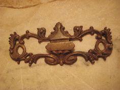 1 Elegant Antique Cast Brass Escutcheon Backplate by StarPower99, $3.90