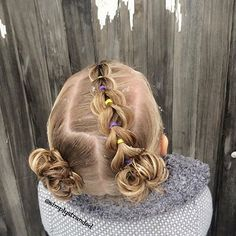 """Today we did a pull through braid on an angle into messy buns. Do you see the snow in her hair?! ❄️☃"" Photo taken by @simplystranded on Instagram, pinned via the InstaPin iOS App! http://www.instapinapp.com (11/16/2015)"