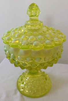 FENTON ART GLASS TOPAZ YELLOW OPALESCENT HOBNAIL LID COVERED PEDISTAL DISH