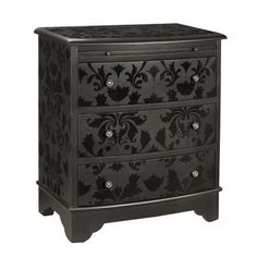 Black on black: Paint dresser with matte black paint and then stencil on design with gloss black paint.