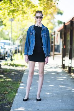 Warm up your sweet day dress with a staple jean jacket for a killer contrast. Source: Le 21ème | Adam Katz Sinding                                                                                                23 / 30