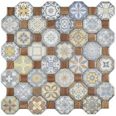 "Edredon 12.25"" x 12.25"" Ceramic Tile in Brown/Blue"