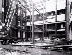 Steelwork during construction at Queen Victoria Hospital, Lonsdale Street…