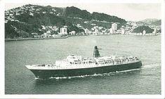 The Lyttelton Ferry, RANGATIRA - c1973 - passing Oriental Bay .. OWR 5 Feb 2018 Merchant Navy, Old Buildings, New Zealand, Boats, Oriental, Ships, Merchant Marine, Boat, Ship