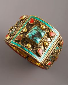 Large Multi-Stone Cuff by Devon Leigh at Neiman Marcus.