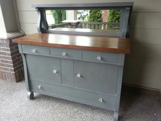 Empire buffet refinished in confederate grey. www.facebook.com/olcountrychic Redo Furniture, Cabin Interiors, Empire Furniture, Distressed Furniture, Upholstered Furniture, Repurposed Furniture, Farmhouse Furniture, Furniture Inspiration, Remodel Furniture Diy