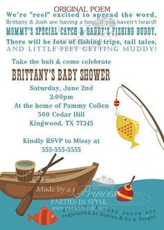 I just fell in love with this! The poem at the top is adorable. Fishing Themed Baby Shower Invitation