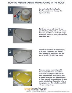 Embroidery Tutorials Embroidery tips - how to get fabric to not move in the hoop Sewing Hacks, Sewing Crafts, Sewing Projects, Sewing Machine Embroidery, Embroidery Thread, Embroidery Ideas, Embroidery Techniques, Sewing Techniques, Brother Se400