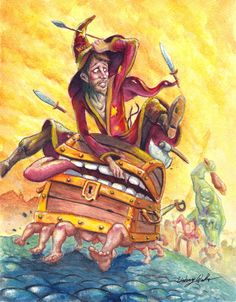 Rincewind and Luggage on the run by puggdogg on DeviantArt