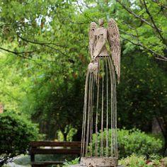 Angel Garden Statues, Garden Angels, Garden Crafts, Garden Art, Terrarium, Obelisk, Angel Sculpture, Metal Yard Art, Wow Art