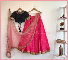 Unit Third floor(above bata showroom) Apurupa LNG opposite Film Nagar club near cafe coffee day road Jubilee 04 December 2016 Black Lehenga, Pink Lehenga, Indian Lehenga, Lehenga Choli, Indian Attire, Indian Wear, Indian Dresses, Indian Outfits, Style Fashion
