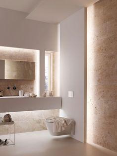 Bad modern gestalten mit Licht Modern bathroom design by indirect lighting as a secondary light Small bathroom designBathroom design with BluModern bathroom, white Modern Bathroom Design, Bathroom Interior, Industrial Bathroom, Bathroom Designs, Modern Toilet Design, Modern Luxury Bathroom, Luxury Bathrooms, Modern Bathrooms, Toilette Design