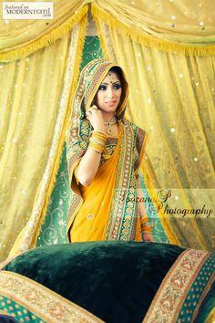 Mehendi Henna Function South asian Saree - more inspiration @ http://www.ModernRani.com