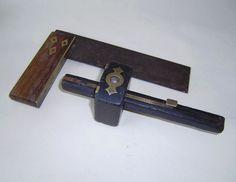 vintage tools & Hardware Carpentry/ Woodworking ebony marking gauge,set square,