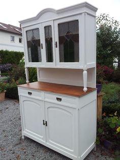 jugendstil buffet vitrine schrank antik alt weiß landhaus shabby ... - Küchenschrank Mit Schubladen