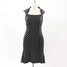 """White House Black Market jersey polka dot dress Sweet little flirty dress from White House Black Market. Black with white polka dots. Square neckline with high back neck & little cap sleeves. Fitted in the bust, waist, and hip, with a flounced hem. Princess seaming throughout for a figure-flattering fit. Stretch matte jersey. Great for traveling because it doesn't wrinkle. Perfect for the office with a cardigan. Size 00, can also fit a 0 Bust: 30"""" Waist: 26"""" Hip:30"""" Length from shoulder…"""