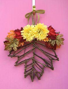 Twig Maple Leaf Fall Door Hanger by AHolidayShoppe