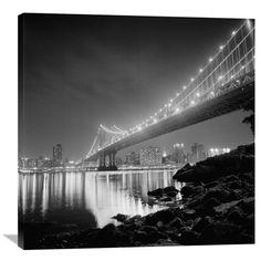 Manhattan Bridge By Night By Philippe Levy-Stab, 36 X 36-Inch Wall Art