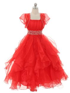 Red Organza Dress with Matching Bolero Jacket