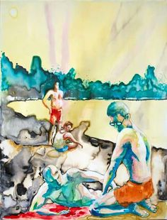 Le domeniche pomeriggio d'estate - ecoline and inks on canvas - cm 40 x 30