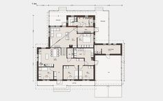 Omatalo on loivalle rinnetontille sopiva talomalli Iso, Floor Plans, Layout, House, Bath, Houses, Bathing, Page Layout, Home