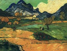 Vincent van Gogh (Dutch, Post-Impressionism, 1853-1890): Mount Gaussier with the Mas de Saint-Paul, 1889. Created in Saint Rémy, France. Oil on canvas, 53.0 x 70.0 cm. Private Collection