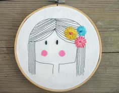 Items similar to Girl with flowers in hair Embroidery Hoop Art - Embroidery Hoop Art - Nursery Emboridery Hoop Art - Cute Embroidery Hoop Art - Wall Art on Etsy Abstract Embroidery, Embroidery Works, Embroidery Hoop Art, Hand Embroidery Patterns, Cross Stitch Embroidery, Fairy Tale Crafts, Needlework, Girl Hair, Flowers