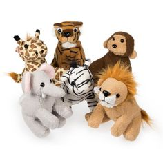 What a cuddly gift this delightful favor will be! Our Plush Zoo Animal Favor is available in assorted animal styles including an elephant, monkey, zebra, lion, giraffe, and tiger.  No matter which you receive, the adorable plush animal is ideal for use as a game prize or special treat for birthdays, fun fairs, and school events. Use one as a tabletop decoration at an animal themed party or baby shower or send it home in a treat bag for a charming party accent. This plush pal is sure to win…