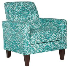 Sutton Modern Damask Turquoise Blue Arm Chair