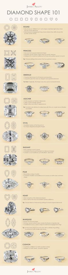 A shape for each type of engagement ring. Each diamond shape possesses its own unique qualities. James Allen offers the highest quality certified conflict-free diamonds to satisfy all tastes. Browse these diamond shapes in HD Diamond Rings, Diamond Engagement Rings, Wedding Engagement, Wedding Bands, Engagement Ring Types, Types Of Wedding Rings, Ruby Rings, Emerald Cut Diamond, Cushion Cut Engagement