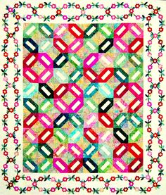 """Sitka Rose"" by Happy Stash Quilts. Make your mark with an heirloom signature quilt. If desired, the light rectangles of the blocks in the quilt center provide the perfect venue for signatures to create lifetime memories. The delicately intertwined roses, leaves, and vines surrounding the piece transform this quilt into an applique heirloom. Quilt size is 59"" x 69.5"""
