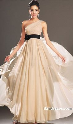 2015 One Shoulder A Line Prom Dress Chiffon With Ruffles And Beads Floor Length