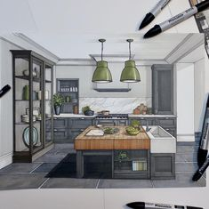 Kitchen. Interior Design Drawings of a Victorian House. By Malcolm Begg.