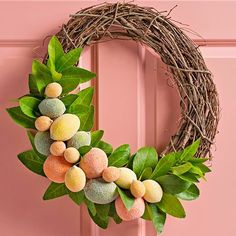 This season, we're sweet on citrus! Make artificial citrus fruit sparkle with a swipe of glue and a sprinkling of German glass glitter. http://www.bhg.com/christmas/wreaths/pretty-christmas-wreaths/?socsrc=bhgpin122214citrusgrapevinewreath&page=12