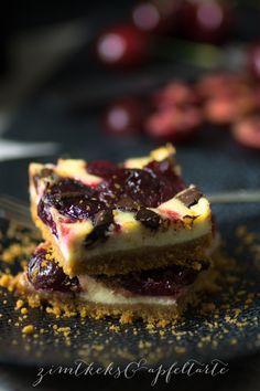 Kirsch-Cheesecake mit Schokoladestücken - Zimtkeks und Apfeltarte