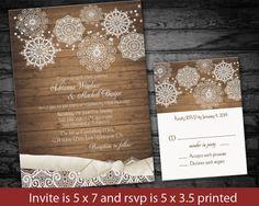 Rustic Country Winter Wedding Invitations  Lace Snowflakes on Wood Grain - DIY Digital printable File