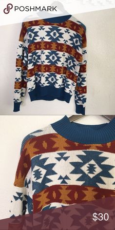 """Vintage sweater Vintage fair isle-ish sweater. Very cozy and soft, mock neck, not at all itchy. No size label but would best fit a medium or large. Absolutely could fit smaller sizes for an oversized fit. 48"""" bust - 24"""" long Vintage Sweaters Cowl & Turtlenecks"""