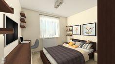 Projekt sypialnie w mieszkaniu dwupokojowym w Rzeszowie na os. Słoneczny Stok