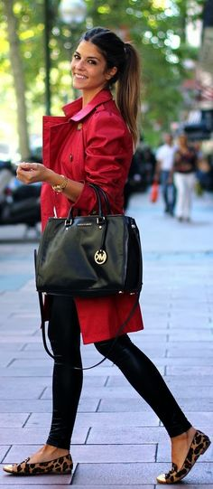 Red trench, leather legging and leopard flats.
