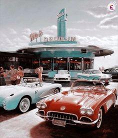Old Cars Photography Chevrolet Corvette 44 Ideas For 2019 Chevrolet Corvette, Chevy, Retro Vintage, Vintage Travel, Vintage Style, Old Vintage Cars, Vintage Designs, Lamborghini, Ferrari
