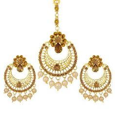 Buy Gold Finish Earrings With Maang Tikka By Sukkhi