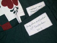 label on 'Hearts and Chains' quilt