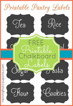 9 Best Images of Printable Chalkboard Labels For Jars - Free Printable Chalkboard Labels, Free Blank Printable Chalkboard Label and Chalkboard Pantry Labels Printable Kitchen Labels, Pantry Labels, Jar Labels, Chalkboard Labels, Chalkboard Art, Printable Labels, Free Printables, Labels Free, Organization Hacks