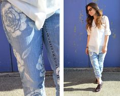 Jammin' Jeans #Denim   #Floral   #Jeans   #Paint   #DIY   #Inspiration
