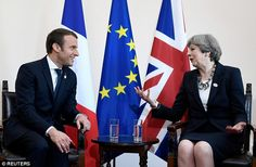 Theresa May and Macron smile for the cameras but PM then warns him that Britain will NOT pay a penny of the Brexit divorce bill upfront as the leaders meet at the G7 summit Read more: http://www.dailymail.co.uk/news/article-4544478/Macron-pledges-stand-Britain-terror-G7.html#ixzz4iEgcBRTq Follow us: @MailOnline on Twitter | DailyMail on Facebook