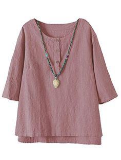 8dfc88e62fa41 Vogstyle Femmes T-Shirts Coton Lin Chemise Chic Simple Haut Jacquard Tops  Tunique (XX
